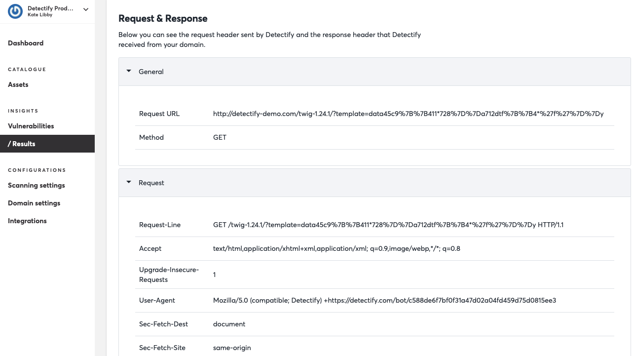 Detectify scanners are based on HTTP request tests