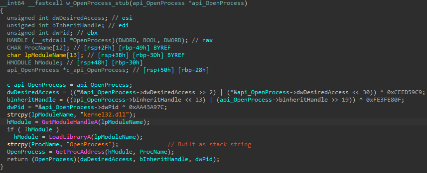 Example of a stub used for API call obfuscation