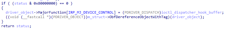IRP_MJ_DEVICE_CONROL hooking